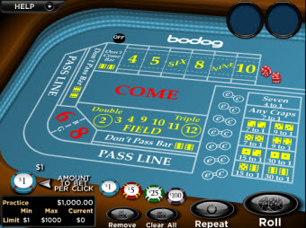 Bodog's Craps for Mac