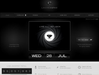 Lock Casino Website screenshot