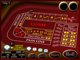 Craps game for Mac at WinPalace