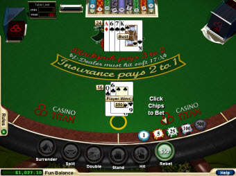 Match-play 21 Blackjack for Mac at Casino Titan